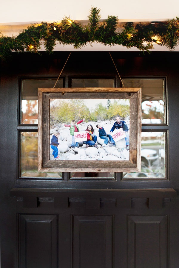 Instead of a wreath, try a framed photo