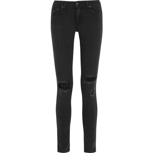 Rag & bone The Skinny distressed mid-rise jeans ($210) ❤ liked on Polyvore featuring jeans, pants, bottoms, trousers, black, skinny fit jeans, denim skinny jeans, destroyed jeans, ripped jeans and distressed skinny jeans