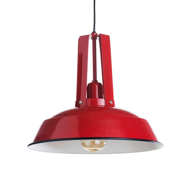 School industrial ceiling pendant light - red