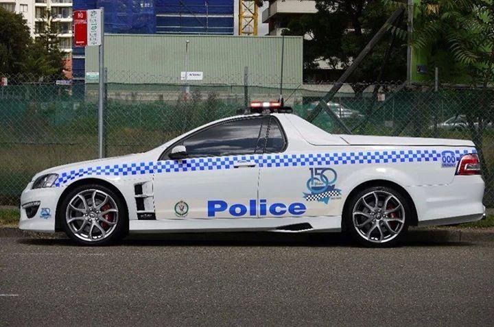 "Australian Holden HSV Maloo ute police car. The name ""Maloo"" is Aboriginal for ""thunder""."