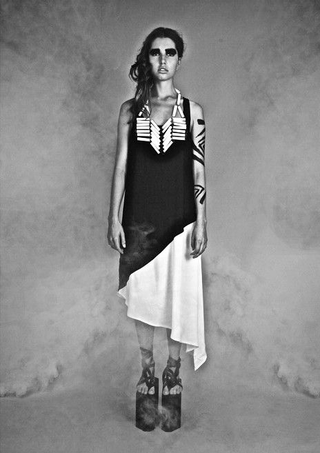 """Two Triangles Dress from """"Tribal Future"""", the 2012 collection by swiss/swedish designer SARA BURKHARD."""