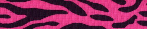 Country Brook Design 1 Inch Pink Zebra Polyester Webbing, 50 Yards. 100% Polyester. Approximately .078 inch or 2.02mm thick. 1200 lbs tensile strength. Melting point of 500 degrees Fahrenheit. UV, Rot, mildew and Moisture Resistant.
