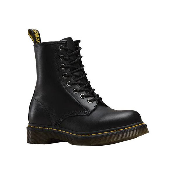 Women's Dr. Martens 1460 8-Eye Boot - Black Nappa Casual ($135) ❤ liked on Polyvore featuring shoes, boots, doc martens, black, casual, originals, work boots, slip resistant work boots, utility boots and lacing boots