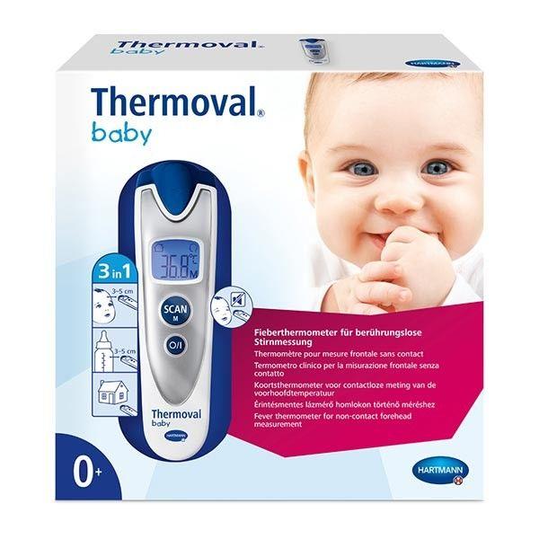 Thermoval Baby est un thermomètre pour bébé équipé d'une technologie infrarouge permettant de mesurer la température de votre bébé sans contact du corps. Ce thermomètre peut aussi servir à mesurer la température des aliments de bébé, de l'eau de son bain, mais également la température ambiante de la chambre à coucher par exemple. #santediscount #thermometre #baby #bebe #enfant #petit #hartmann #thermoval #soin