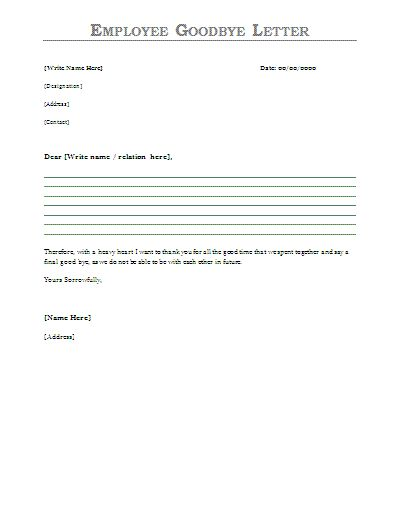 Employee Goodbye Letter - Sample employee farewell message ...
