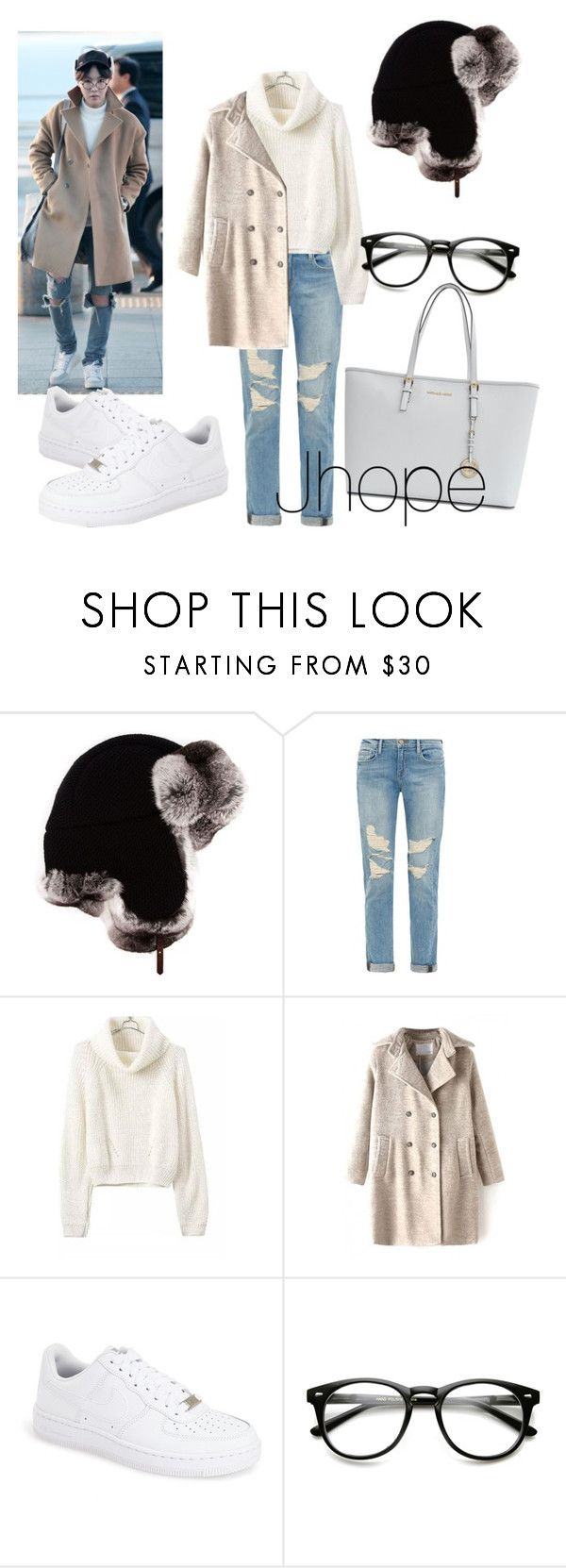 """Jhope bts  inspired outfit"" by mariannaseidita ❤ liked on Polyvore featuring Inverni, Frame Denim, NIKE, Michael Kors, women's clothing, women's fashion, women, female, woman and misses"