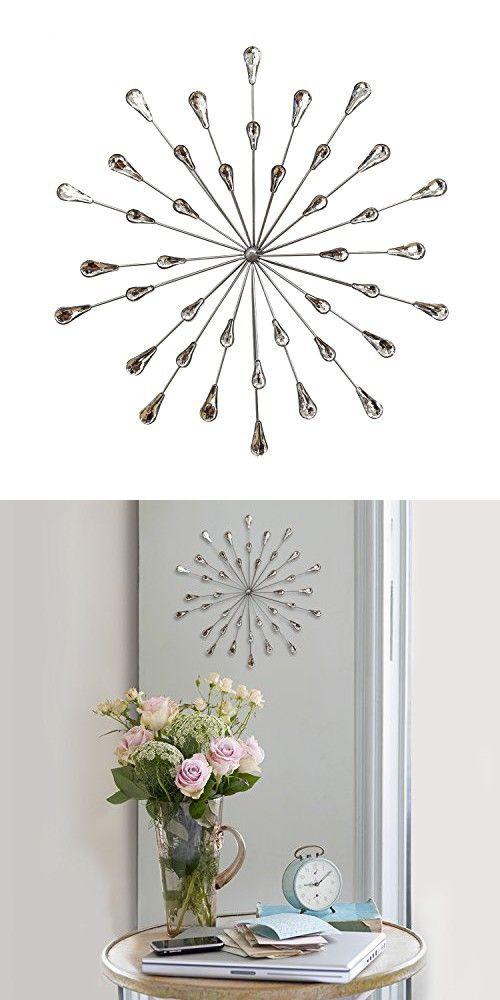 Hand Painted Glamorous Burst Design Silver Acrylic Burst Wall Decor 24 in