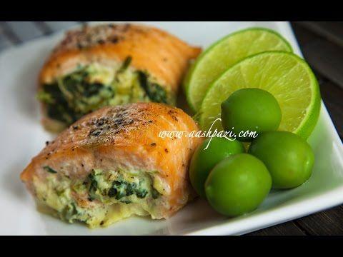Salmon-spinach rolls