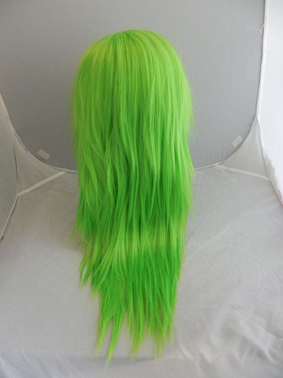 ON SALE // Neon Lime Green / Long Green wig Bright by ExandOh