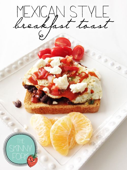 Mexican Style Breakfast Toast —  A hearty breakfast toast that's packed with protein, fiber, and flavor! Black beans, egg, pico, and cheese. Yum!