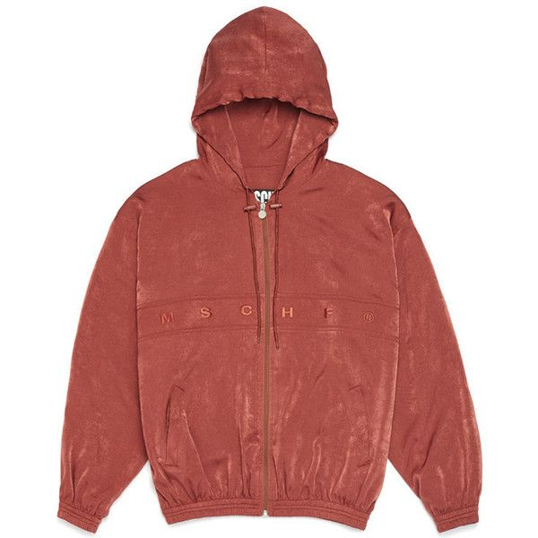 SATIN ZIP-UP HOODIE_copper ($79) ❤ liked on Polyvore featuring tops, hoodies, hoodie top, red zip up hoodie, zip up hoodies, zip up hoodie and sweatshirt hoodies