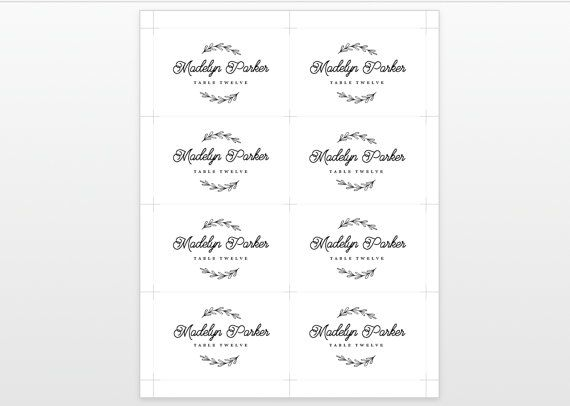 This listing is for printable Wedding Place Card for you to print at home or at a local print shop. Save time and money by editing and printing your own wedding stationery! Please read the following carefully before placing your order. By purchasing this listing you will get the same design as the first displayed image. -------------------------------------------------------------------------- DOWNLOAD INCLUDES One 8.5 x 11 Template for 2.5 x 3.875 (folded) place cards....4 per page One 8.5 x...
