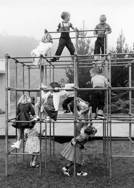 jungle gym | children playing | vintage | black & white | outdoors | fun | playground