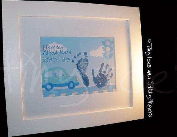 Car Nursery Print Keepsake  Hand prints foot by Tinytoesprints