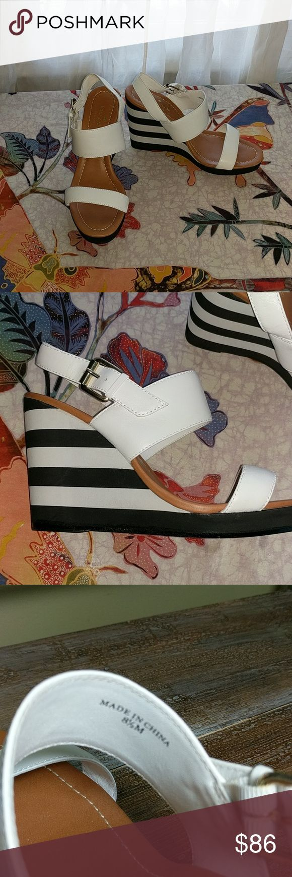 """kate spade Wedged Sandals White leather sandals,  black and white wedges, 4"""" high,  worn once kate spade Shoes Wedges"""