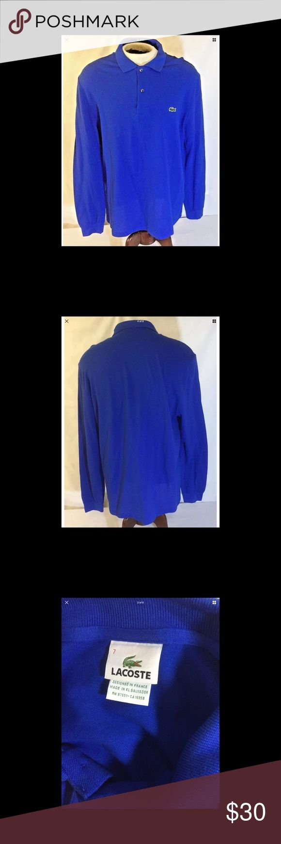 "LACOSTE MENS LONG SLEEVE POLO SHIRT XXL BLUE pit to pit: 23"" (46 chest) length: 30"" sleeves: 28"" condition: very good tag size: 7 Designed in France  Freshly laundered Fast shipping Non smoking environment Lacoste Shirts Polos"
