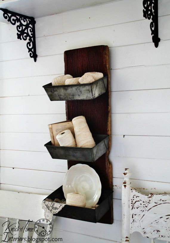 Metal Wall Bins - Repurposed Antique Barn Wood with Antique Bread Pans by KnickofTime possibly for puppy storage