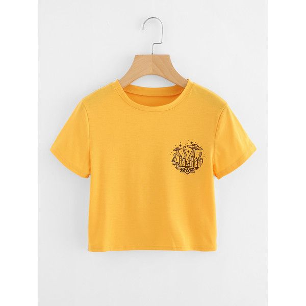 Graphic Print Crop Tee ($5.79) ❤ liked on Polyvore featuring tops, t-shirts, yellow, short sleeve tee, yellow tee, polyester t shirts, graphic t shirts and short sleeve tops
