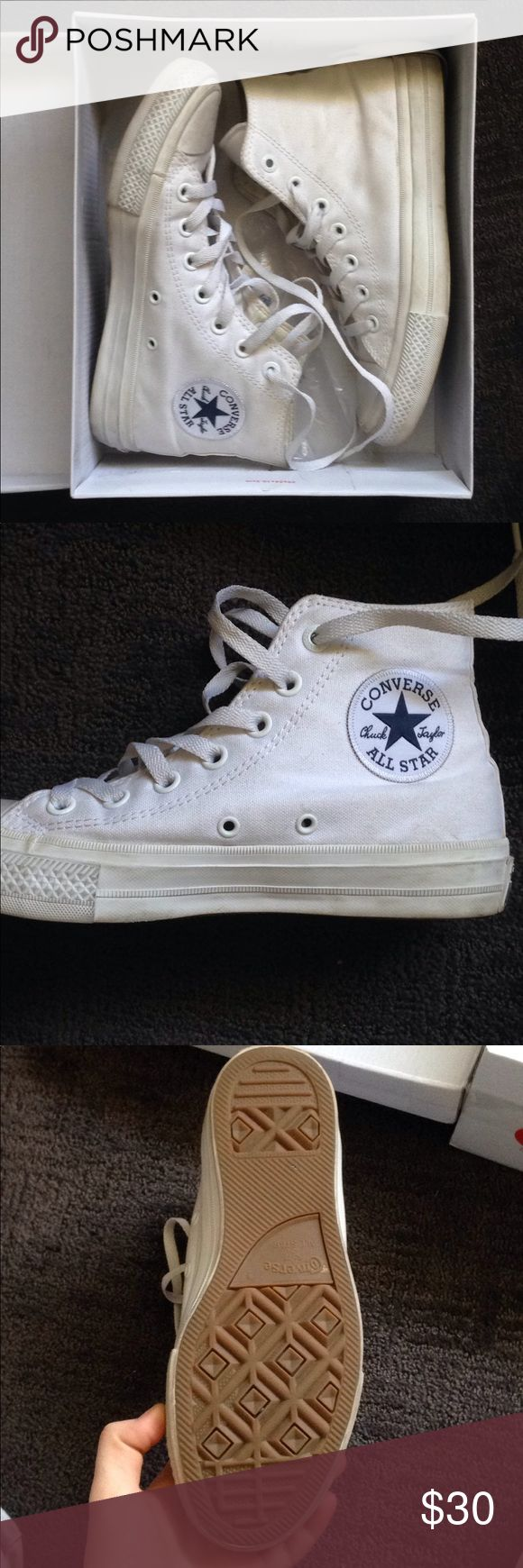 Converse Chuck II High Top White Size 7 Worn once White chuck taylors Soles are in perfect condition Converse Shoes Sneakers