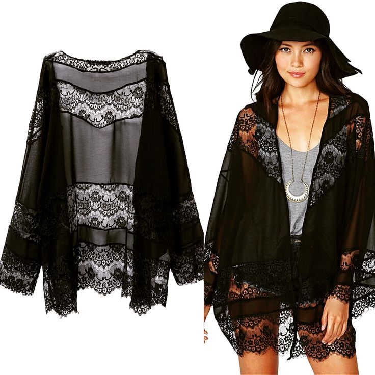 Black Floral Lace Cardigan from Pasa Boho
