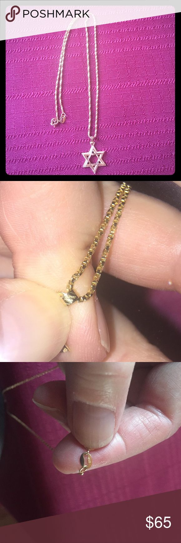 14 karat gold chain and Star of David pendant Beautiful 14 Karat gold box chain and 14 Karat gold Star of David pendant. Jewelry Necklaces
