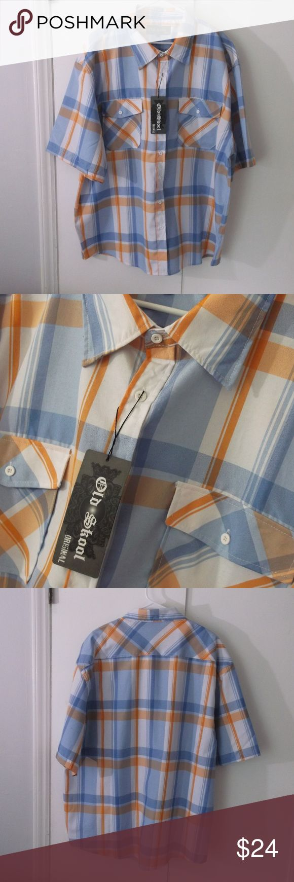 Big Mens Old Skool Orange Blue Plaid Shirt 4X This is a new with tags big men's shirt by Old Skool in a size 4X Cotton polyester fabric Buttons down front, short sleeves 2 buttoned flap pocket on chest White, orange and blue large plaid in color Old Skool Shirts Casual Button Down Shirts
