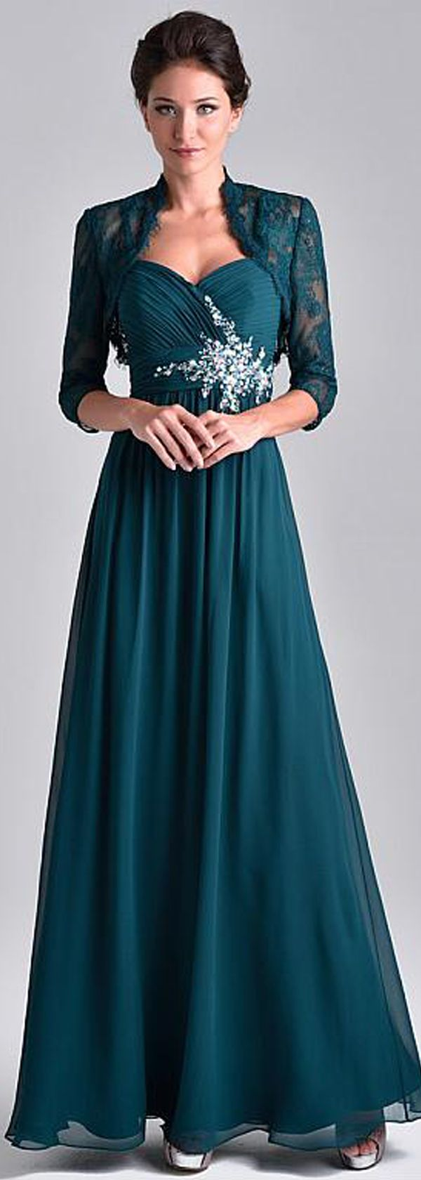 Unique Chiffon Spaghetti Straps Neckine Floor-length A-line Mother Of The Bride Dresses With Beadings & Detachable Coat