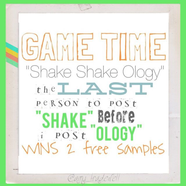 "Game time!! The LAST person to say ""shake"" before I say ""ology"" will win two FREE samples (no strings attached). Ready, set, go!! **please no coaches or people working with other coaches #free #samples #healthyhabits #healthymom #getfit"