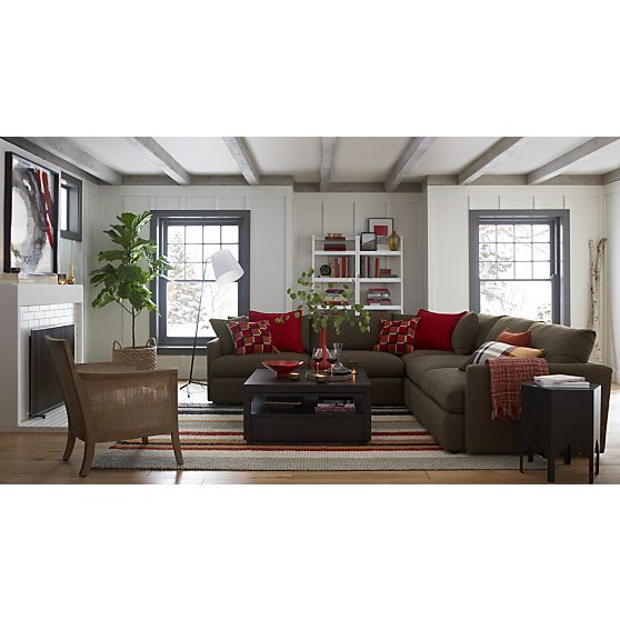 Lounge II 3 Piece Sectional Sofa In Taft:Truffle | Crate And Barrel