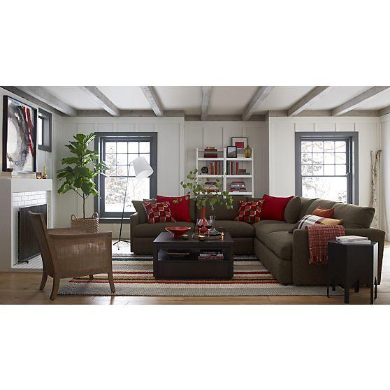 lounge ii 3 piece sectional sofa in taft truffle crate and barrel