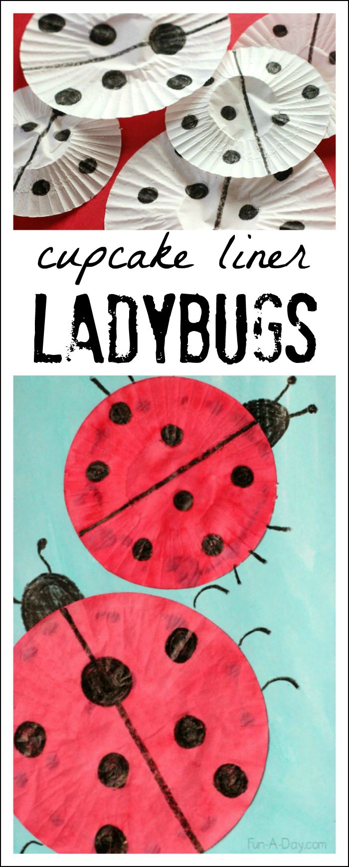 I love how easy and fun this cupcake liner ladybug craft is