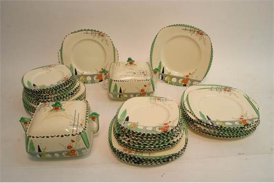 A large collection of Art Deco Burleigh Ware 'Riviera' pattern including sets of graduated plates and four tureens. Staceys Auc. Dec 2016. Estimate: None given. Sold GBP50.