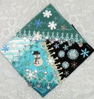 Crazy Quilt Blocks for Christmas Ornaments - love these colors!