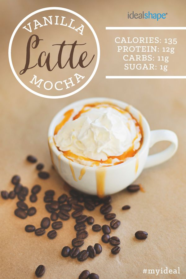 Healthy Vanilla Latte Mocha protein shake! Recipe: 1 cup unsweetened almond milk 1/2 scoop Vanilla IdealShake 1/2 scoop Mocha IdealShake 2 T. sugar free Torani caramel flavoring  You can also do 1/2 cup coffee, 1/2 cup almond milk (the macros would change to: 121 calories, 11g protein, 11g carbs, 1g sugar).   Heat milk or coffee base, stir in IdealShake mix and caramel flavoring and blend!!