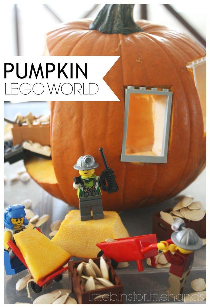 LEGO Pumpkin Play World Fall STEM. Small world sensory play for Fall, Halloween, or Thanksgiving. Use LEGO bricks and minifigures for pumpkin play.
