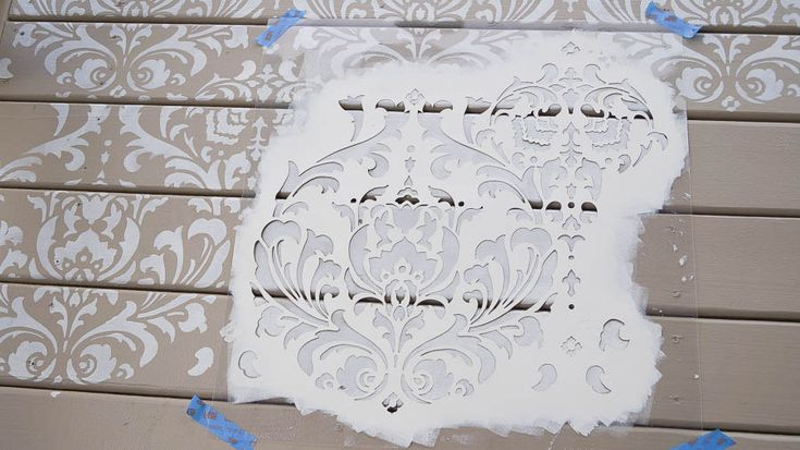 Stencil Painted Deck Floor Using Cutting Edge Stencils Is An Easy Way To Add Style To An Outdoor Space. http://www.cuttingedgestencils.com/damask-stencil.html