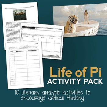 Life of pi activity pack 8 activities novel study for Life of pi analysis