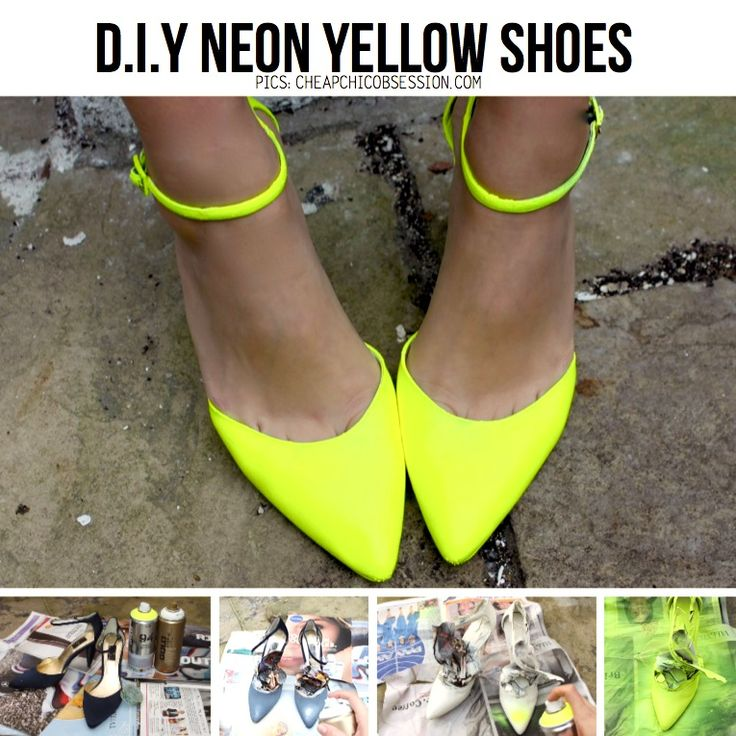 DIY Neon Shoes from 'CheapChicObsession' featured in Top11 DIY Party Shoe line-up on ScrapHacker.com