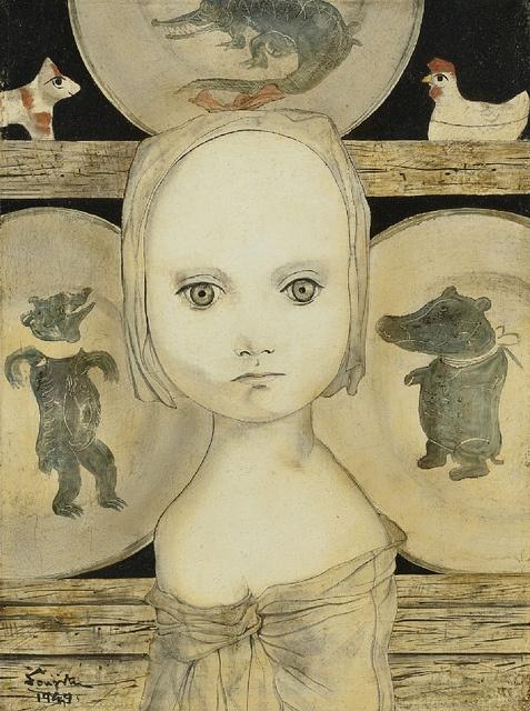 [ F ] Tsuguharu Foujita - Portrait of a Young Girl with Plates (1949)