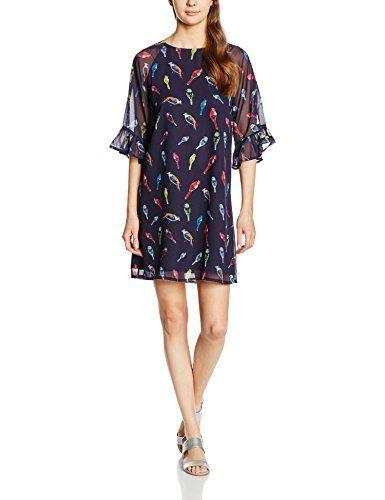 Almost Famous Damen Kleid Flutter Sleeve Bird Print Tunic
