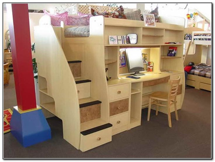 Bunk Bed With Desk Under  bunks  Pinterest  Bunk bed