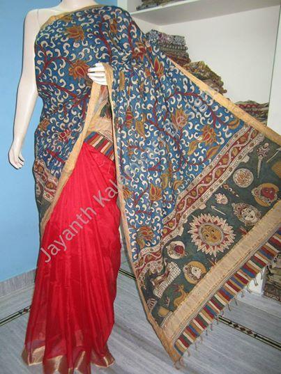 half and half kalamkari saree