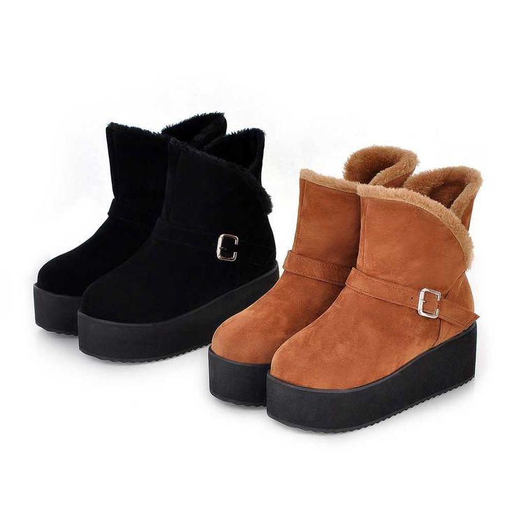 Warm Metal Buckle Thick Foam Sole Short Snow Boots For Women 4010