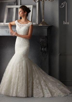 Свадебные платья от Blu путем Mori Lee Style 5265 Нежный бисером на Alencon кружева свадебное платье