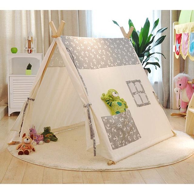 Popular 100% cotton kid teepee tent Sailors pure cotton baby children tents tents Indoor play house Photography tent