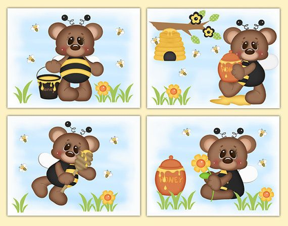 TEDDYBEER HONING Bumble Bee kwekerij meisje Decor Wall Art Prints Childrens bloemen …