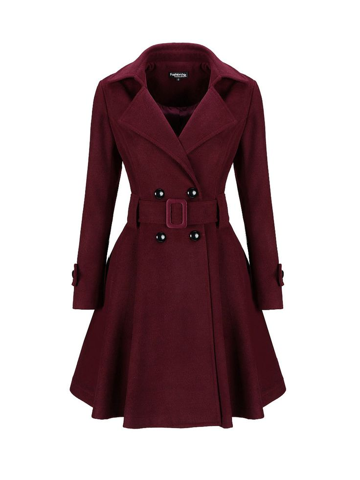 Classical Lapel Double Breasted Plain Swing Woolen Coat FashionMia Price: $37.95