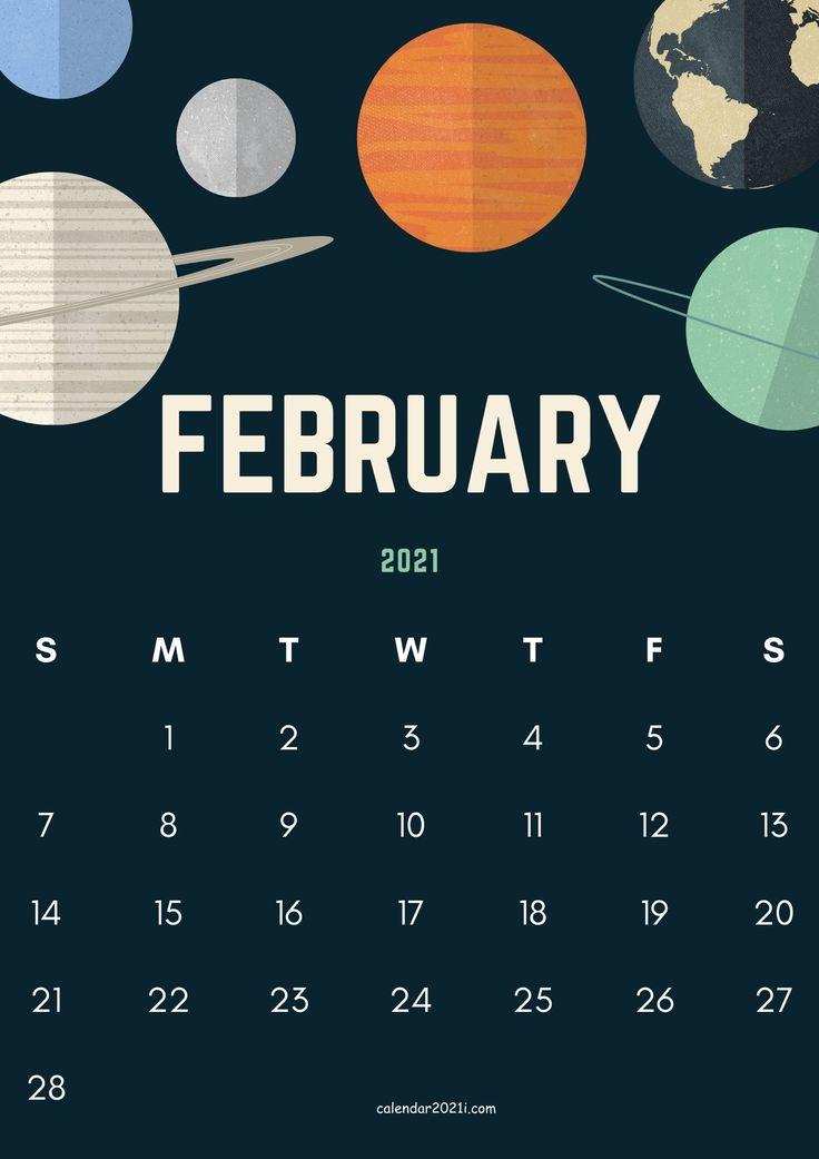 Cute February 2021 Calendar Design template layout theme ...