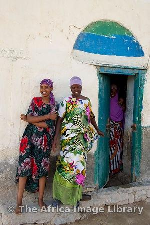 Girls outside their house, Berbera, Somaliland, Somalia