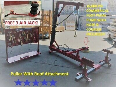 Portable Auto Body Frame Puller Straightener Roof Free Clamps 3 Ton Air Go Jack Auto Body Auto Clamps